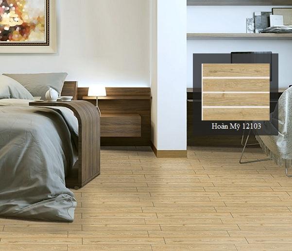 gạch hoàn mỹ giả gỗ lát phòng ngủ