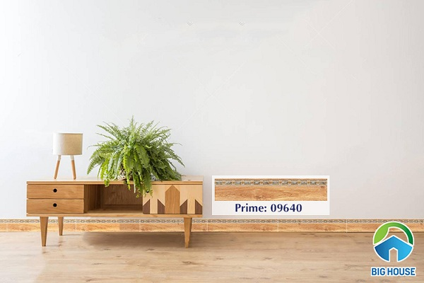 gạch chân tường phòng khách giả gỗ