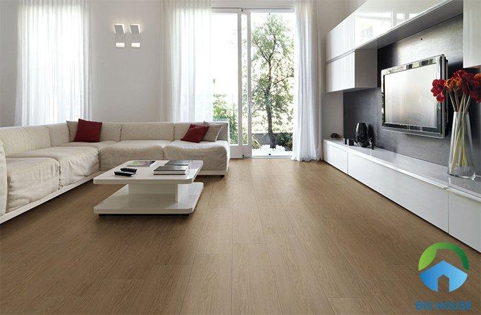 Gạch lát nền kích thước lớn phù hợp cho những không gian phòng khách có diện tích rộng