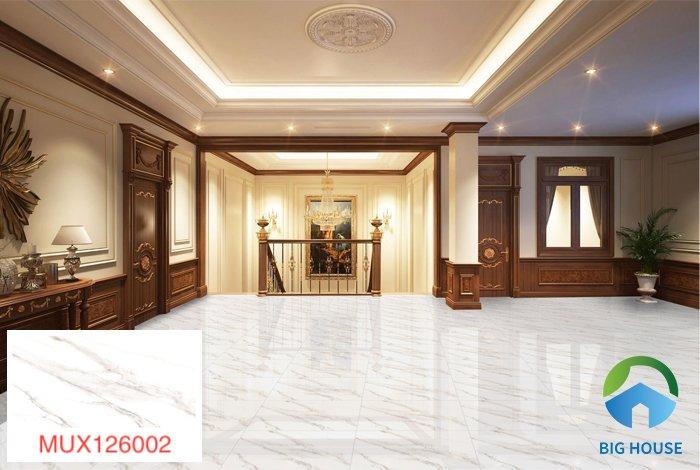 Gạch lát nền phòng khách Mikado vân đá trắng MUX126002