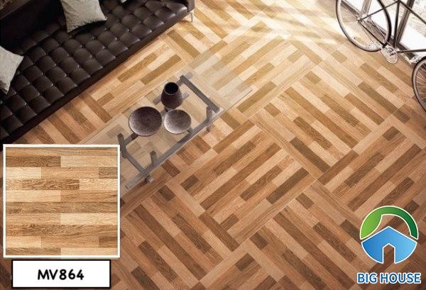 Gạch giả gỗ lát nền phòng khách Mikado MV864 kích thước 60x60 độc đáo