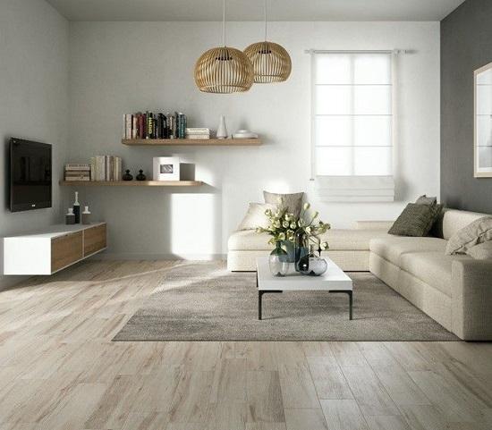 mẫu gạch giả gỗ lát nền phòng khách 10