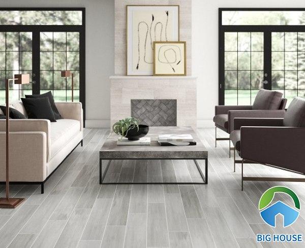 Gạch giả gỗ màu xám cho không gian phòng khách thiết kế đơn giản