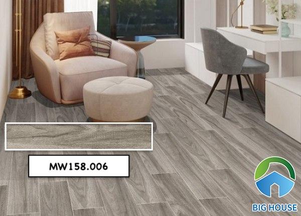 Gạch giả gỗ lát nền phòng khách Mikado MW158.006tông màu xám lạnh sang trọng