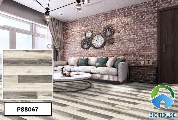 Mẫu gạch giả gỗ Ý Mỹ P88067 với sự kết hợp 2 gam màu xám đậm - nhạt nổi bật