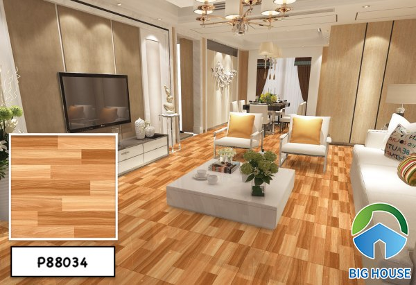Mẫu gạch giả gỗ lát nền phòng khách Ý Mỹ P88034 tông màu vàng nâu nổi bật