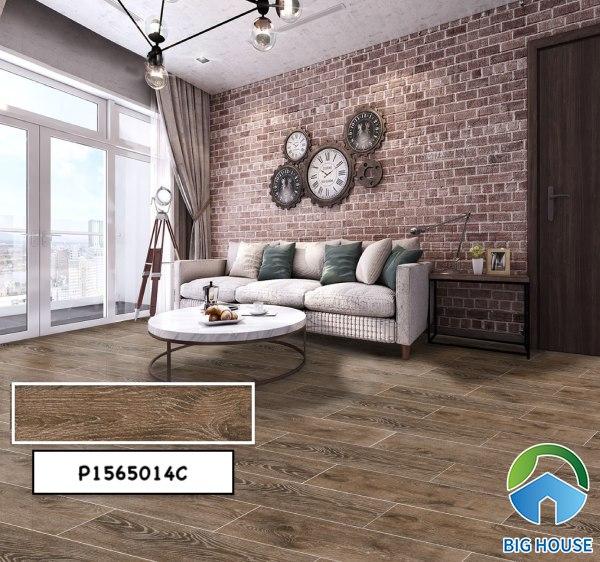 Mẫu gạch giả gỗ tone nâu trầm P1565014C với cách lát so le độc đáo