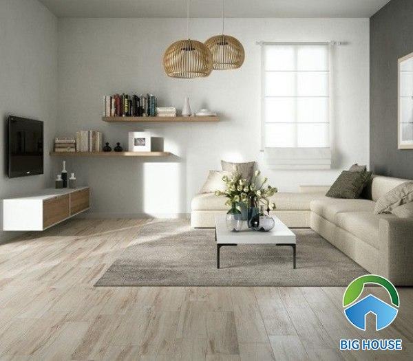 Sử dụng gạch giả gỗ màu sáng cho không gian phòng khách hiện đại