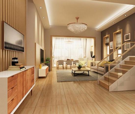 mẫu gạch giả gỗ lát nền phòng khách 9