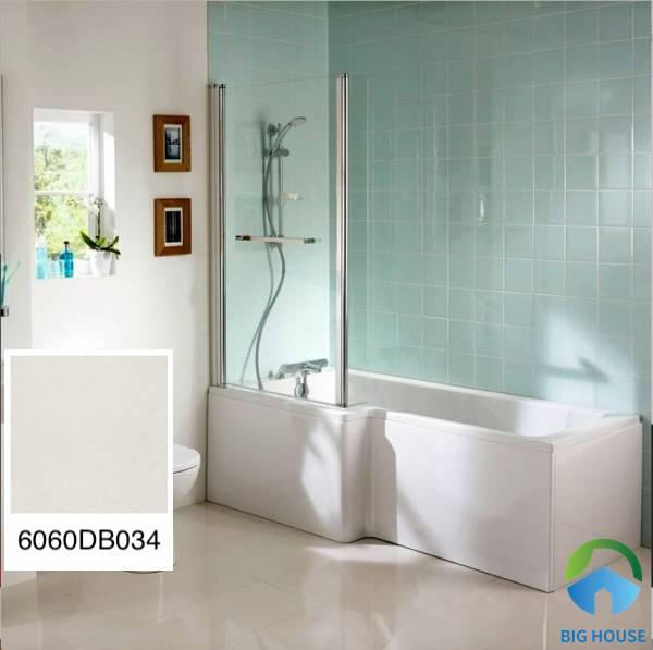 Mẫu gạch Đồng Tâm 6060DB034 men mờ màu trắng đơn giản