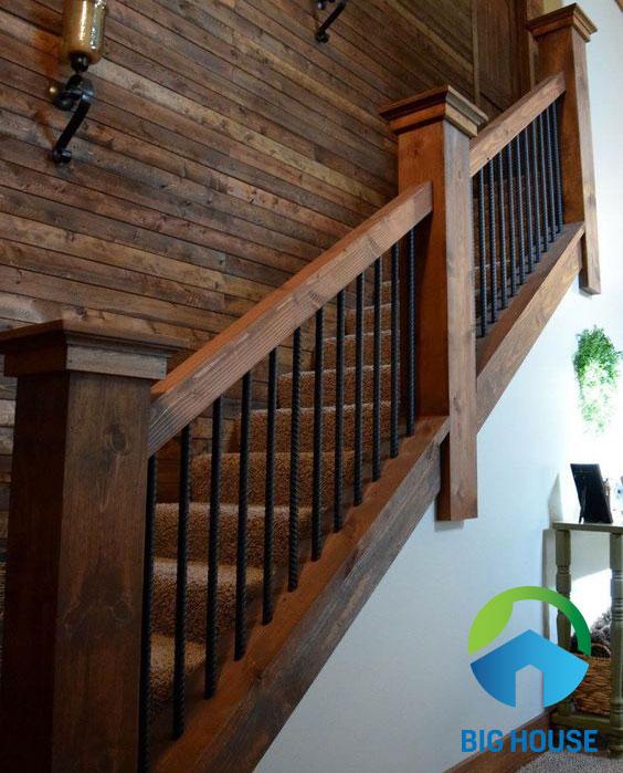 gạch ốp tường cầu thang vân gỗ