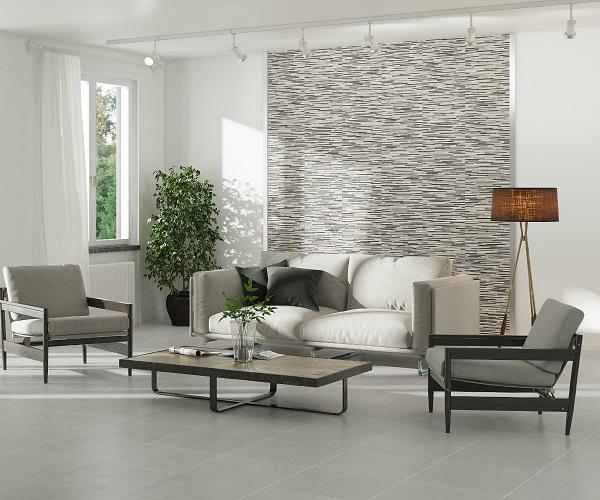 cách phối màu gạch ốp phòng khách cùng tông màu xám
