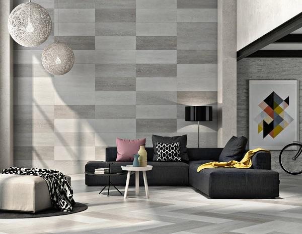 cách phối màu gạch ốp phòng khách đồng tông