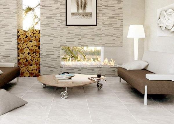 Phối màu gạch ốp tường và gạch lát màu trung tính