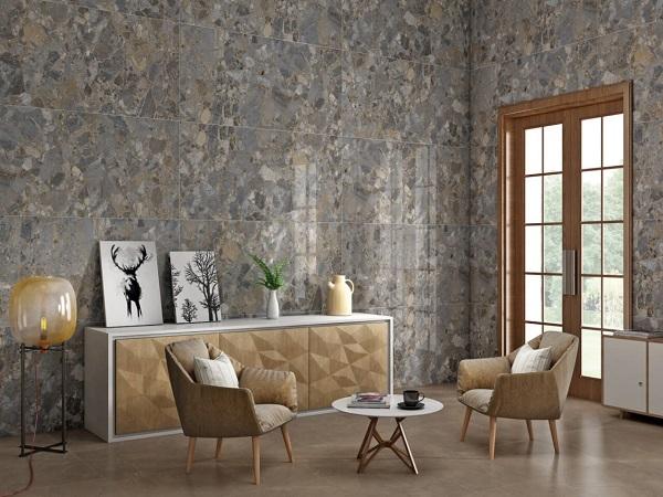 Kết hợp gạch ốp tường xám và gạch lát nền màu vàng