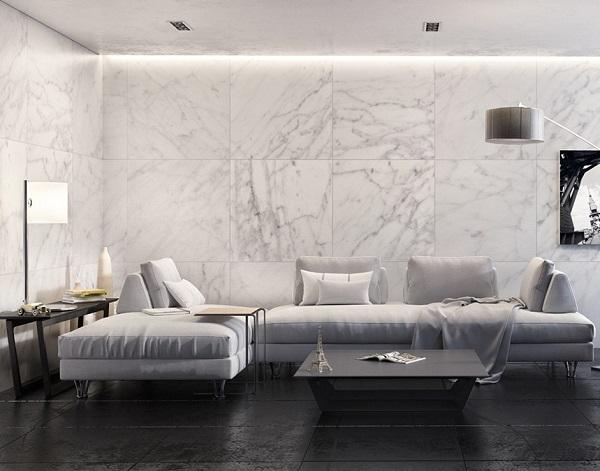 Cách phối màu nghịch tông chỉ phù hợp cho những không gian phòng khách có diện tích rộng