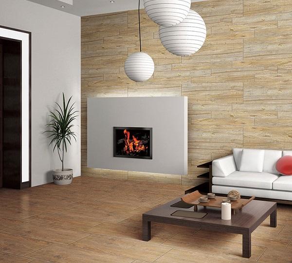 Phối màu gạch ốp tường vân gỗ cùng tông với gạch lát