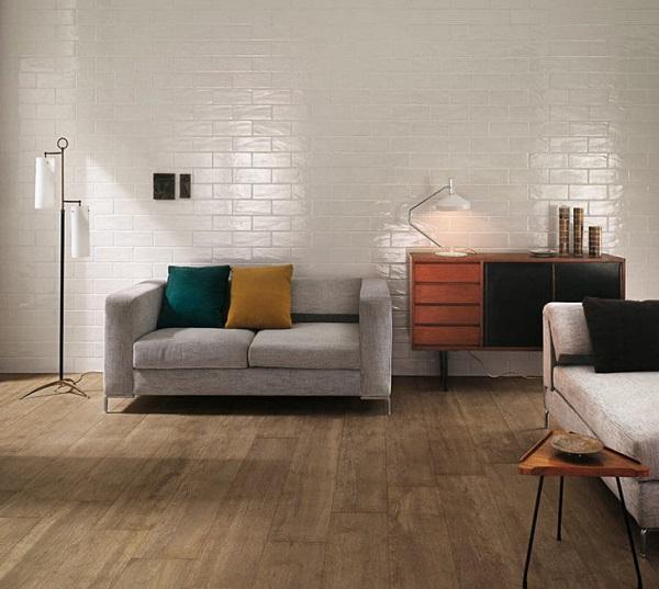 cách phối màu gạch ốp tường phòng khách vừa