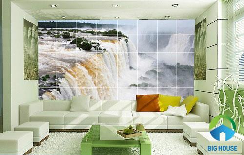 gạch 3d ốp tường phòng khách 1