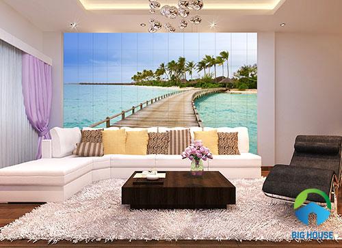 gạch 3d ốp tường phòng khách 8