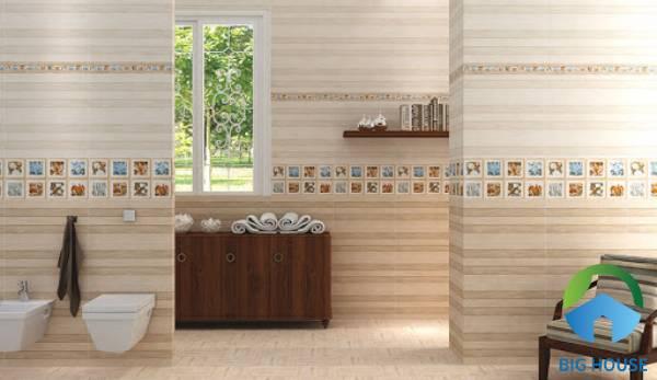 Mẫu gạch điểm với nhiều họa tiết hoa văn, màu sắc nổi bật cho nhà tắm