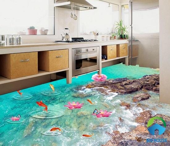 gạch lát nền 3d đẹp lát cho không gian phòng bếp