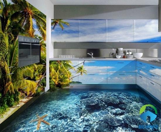 mẫu gạch lát nền 3D phong cảnh biển đảo san hô