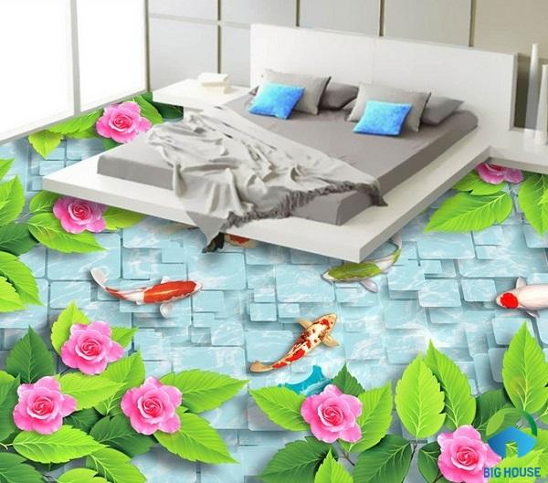 gạch lát nền 3d phòng ngủ 6