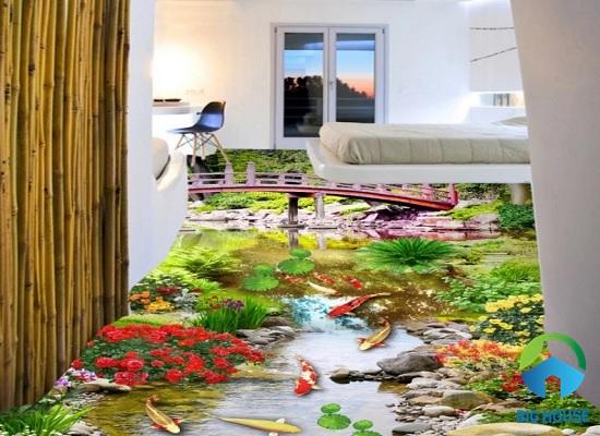mẫu gạch lát nền 3d họa tiết hồ cá Koi