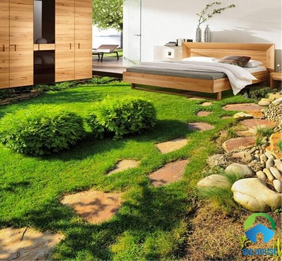Mẫu gạch 3D lát phòng ngủ họa tiết cỏ xanh bắt mắt