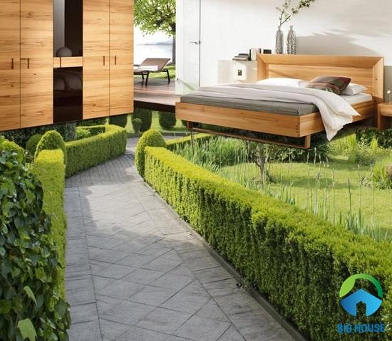 Mẫu gạch 3D lát phòng ngủ hình ảnh khu vườn xanh mát