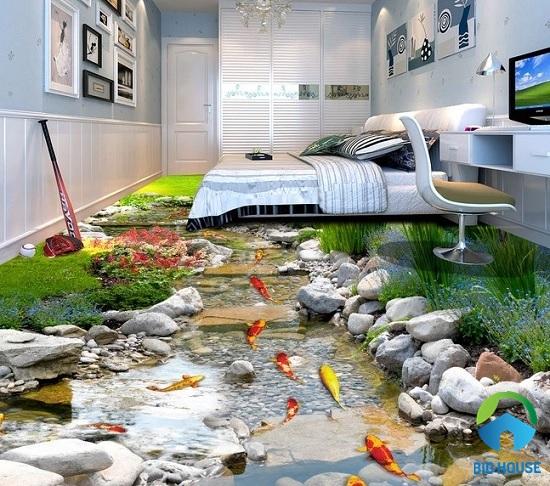mẫu gạch lát nền 3d ấn tượng họa tiết hồ cá Koi