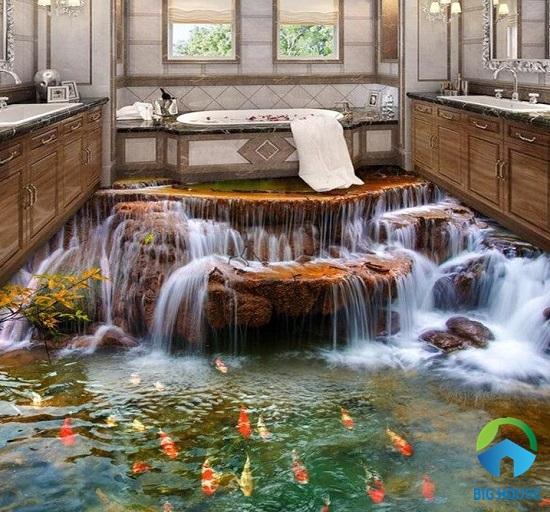 mẫu gạch 3D họa tiết thác nước cho phòng tắm