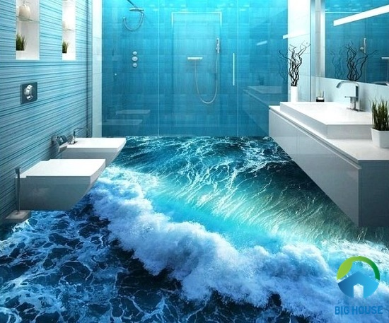 mẫu gạch 3D cảnh biển tung trào bọt sóng