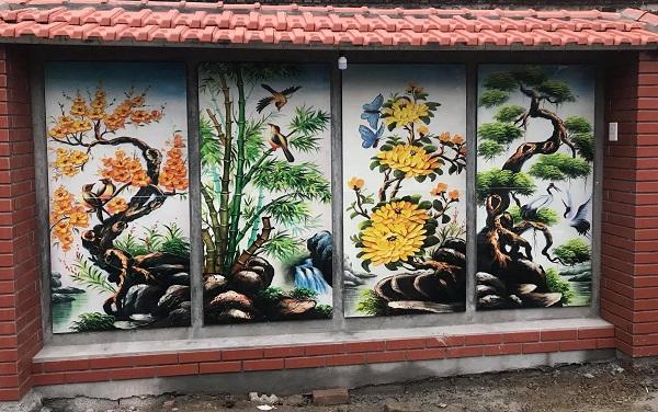 Gạch ốp tường 3D Tứ Bình Tùng, Cúc, Trúc, Mai