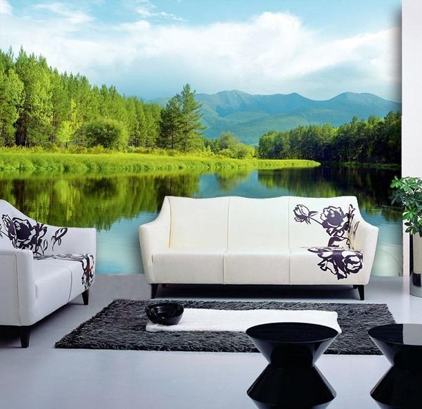 gạch ốp tường 3d giá rẻ phong cảnh hồ nước tĩnh lặng