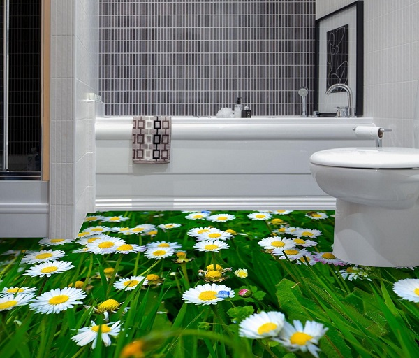 gạch 3d lát nền nhà tắm chủ đề cánh đồng hoa cúc trắng