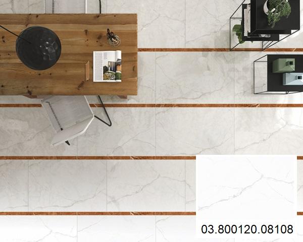 Mẫu gạch Big Slab màu trắng vân đá, kích thước 80x1m2 của Prime mã 08108