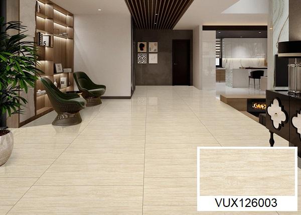 Gạch lát nền nhà khổ lớn Mikado VUX160003 họa tiết vân đá Travertine chân thực