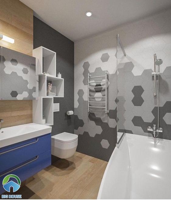 Gạch ốp nhà tắm màu xám lục giác
