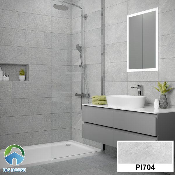 Gạch ốp nhà tắm màu xám Malaysia vân đá PI704