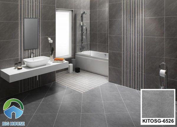 Gạch ốp tường màu xám KITOSG-6526 kết hợp cùng gạch lát nền đồng tông