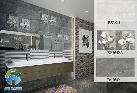 Gạch ốp nhà tắm màu xám hoạ tiết BS3641 - BS3642A - BS3642 của Viglacera