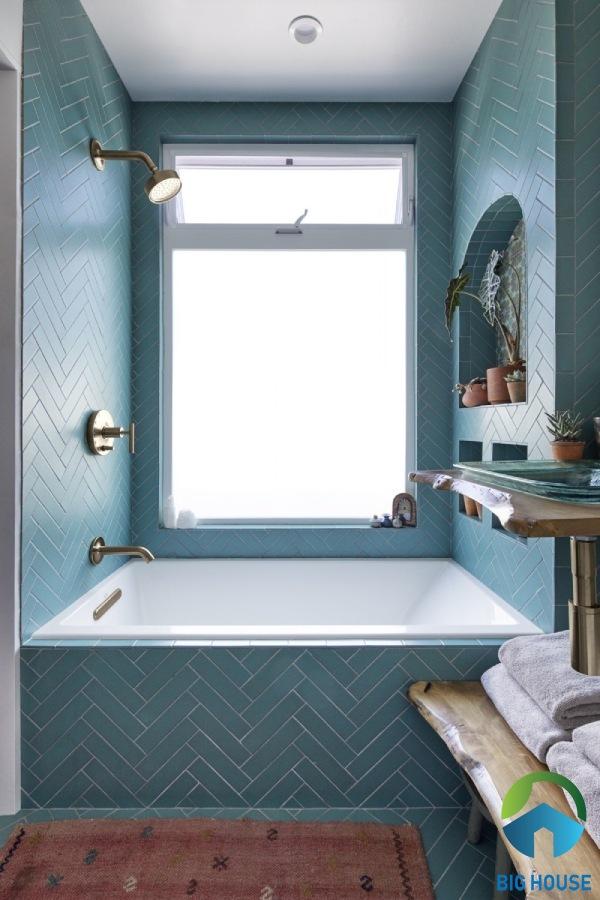 Gạch thẻ ốp nhà tắm màu xanh chevron mang vẻ đẹp thanh lịch