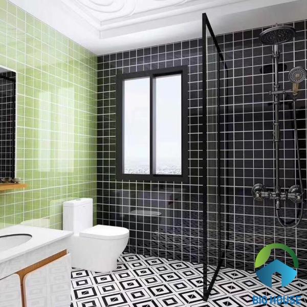 Gạch thẻ ốp nhà tắm màu xanh M1106J kết hợp cùng màu đen rất nổi bật
