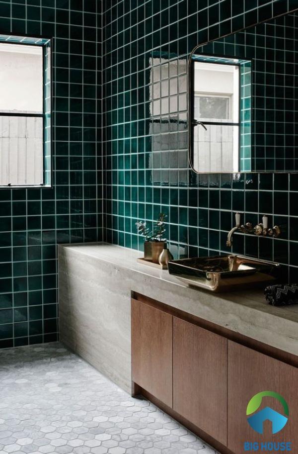 Gạch ốp nhà tắm màu xanh Y48C11 với gam màu đậm cho không gian phòng tắm hiện đại hơn