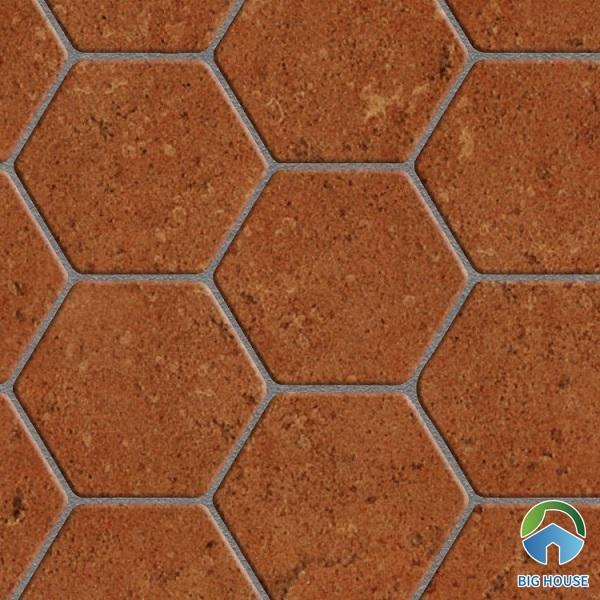 Map gạch lục giác cotto màu nâu đậm viền xám cũng rất được ưa chuộng