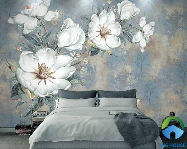 mẫu gạch ốp tường phòng ngủ 3d chủ đề hoa lá