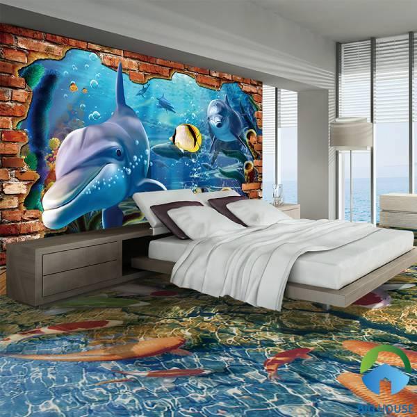 Mẫu gạch 3d chủ đề biển cả với những chú cá voi tinh nghịch