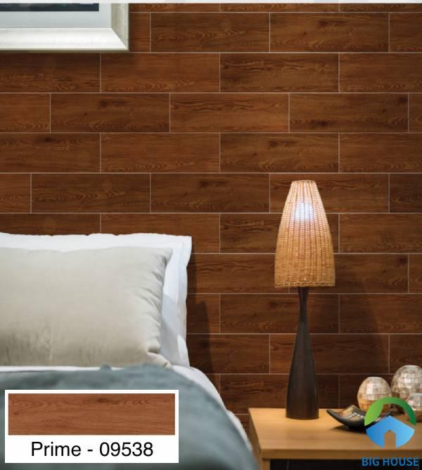 Gạch ốp tường phòng ngủ Prime - 09538 họa tiết vân gỗ với tông màu nâu cổ điển
